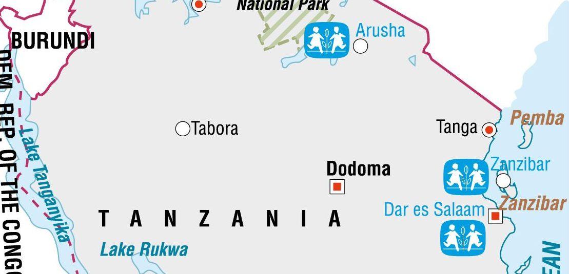 Der ligger tre børnebyer i Tanzania og Zanzibar. SOS Børnebyerne hjælper også udsatte familier udenfor børnebyerne.